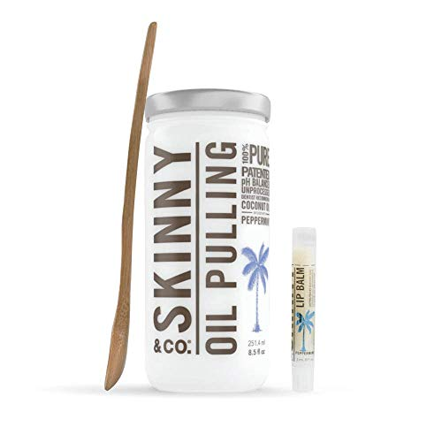 SKINNY and CO. 100% Raw Oil Pulling KIT - Peppermint Coconut Oil for Healthier Teeth and Gums - Natural Teeth Whitening | Wooden Bamboo Spoon & Coconut Lip Balm (8.5 Oz) (Benefits Of Oil Pulling With Sesame Oil)