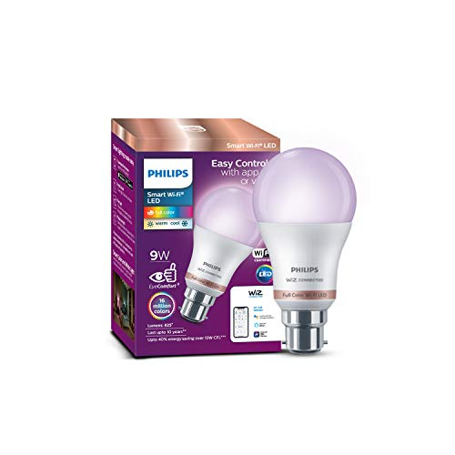 Philips Wiz Smart WI-Fi LED Bulb B22 9-Watt, Compatible with Amazon Alexa and Google Assistant (Pack of 1)