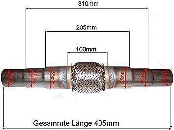 Dynamic Universal Edelstahl Flexrohr Interlock Flexstück Flexpipe Hosenrohr Anschlussrohr 45mm 48mm 55mm K Auto