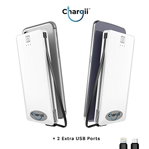 Chargii | Apple Power Bank | All-in-One Portable Charger | Cell Phone Battery Backup | Built-in Wall Plug AC Adapter, Apple & Micro USB Cables | 2 USB Ports | 5000 mAH | White by Chargii (Image #4)