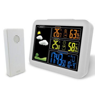 Upwind Base Time - Radio Contraolled Alarm Clock Weather Station Temperature Humidity Sensor Colorful - Endure Post Atmospheric Condition Brave Send Windward - 1PCs