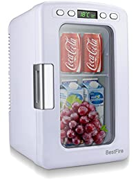 BestFire Car Mini Fridge Portable Thermoelectric Cooler and Warmer Travel Refrigerator for Home ,Office, Car or Boat AC & DC, White - 12L Capacity