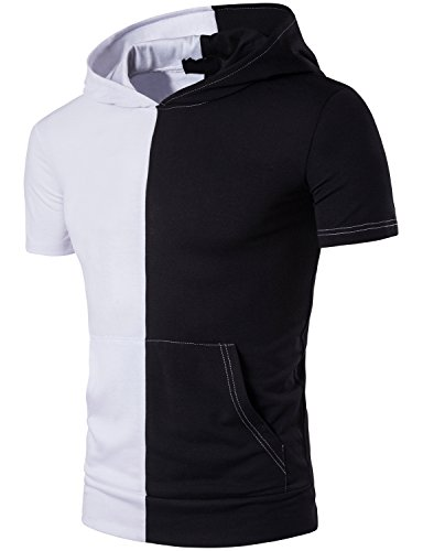 Mens Hipster Contast Short Sleeve Hoodie Shirt Tops with Kangaroo Pocket T83-White - Mens Punk Fashion