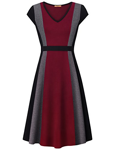 A-line Jersey - MCKOL Dressy Dress for Women, V Neck A Line Striped Cocktail Party Jersey Wear to Work Maxi Dress with Zipper(Wine,Small)