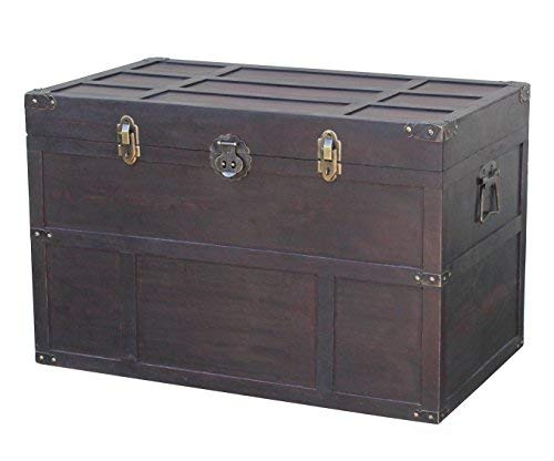 Small Steamer Trunk - Vintiquewise QI003041LNEW Antique Style Wooden Steamer Trunk