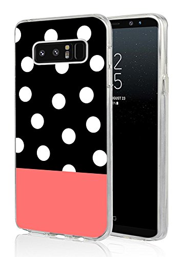 Note 8 Case Polka,Ecute Soft Slim Flexible Rubber Side + Style Hard Back Case for Samsung Galaxy Note 8 (2017) - Polka Dot-Pink