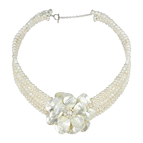 AeraVida White Mother of Pearl Flower and Cultured Freshwater Pearl Beaded Necklace ()