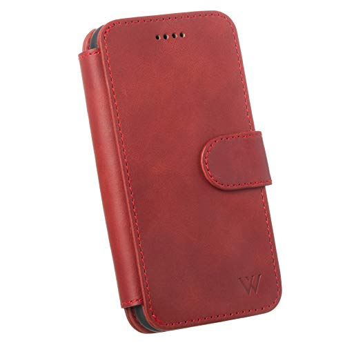 Wilken iPhone X | XS Leather Wallet with Detachable Phone Case | Wireless Charging Compatible | 100% Top Grain Cowhide Leather | Red (Ccw Top End)