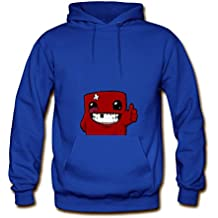 Gramed Men's Super Meat Boy Printed Cotton Hoodies Sweatshirts L Blue