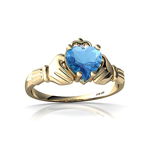 14kt Yellow Gold Blue Topaz and Diamond 6mm Heart Claddagh Ring - Size 7.5