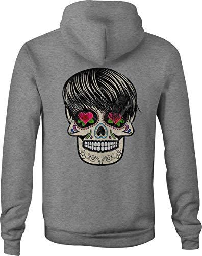 Motorcycle Zip Up Hoodie Sugar Skull Tattoo Rose Heart Eyes - Large Gray