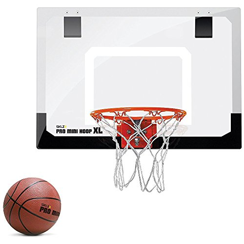 "SKLZ Pro Mini Basketball Hoop W/ Ball. 23""x16"" Shatterproof Backboard. (Breakaway Basketball)"