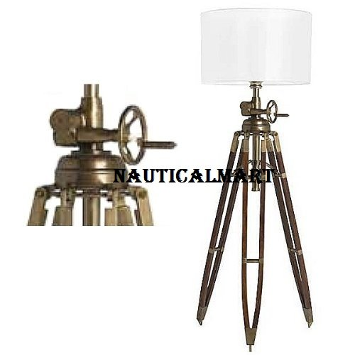 ProPassione Tripod Stehlampe, Chintz-Schirm, White, Brass antique / walnut wood stand, max. H 220 x Ø foot 100, Ø screen (Chintz Antique)