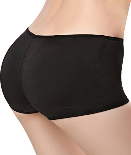 Pelisy Seamless Padded Butt Lifter Panties Hip Enhancer With Removable Pads Womens Boy Shorts Black M