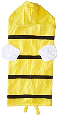 Kidorable Yellow Bee All-Cotton Hooded Towel For Girls With Fun Bee Wings and Eyes, Ages 3-7