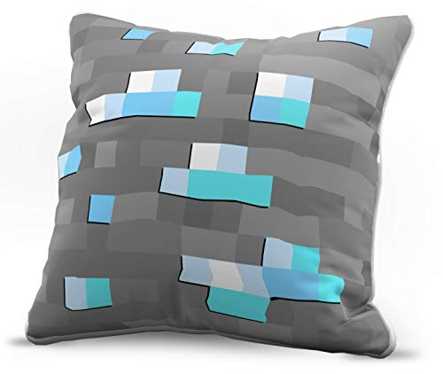 (Jay Franco Minecraft Diamond Block Decorative Pillow Cover - Kids Super Soft 1-Pack Throw Pillow Cover - Measures 15 Inches x 15 Inches (Official Minecraft)