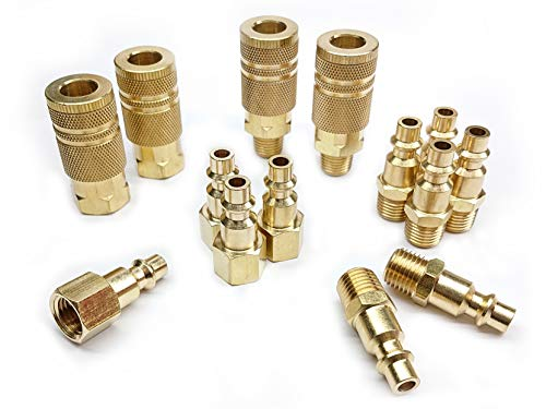 Tanya Hardware Coupler and Plug Kit (14 Piece), Industrial Type D, 1/4 in. NPT, Solid Brass Quick Connect Air Fittings Set ()