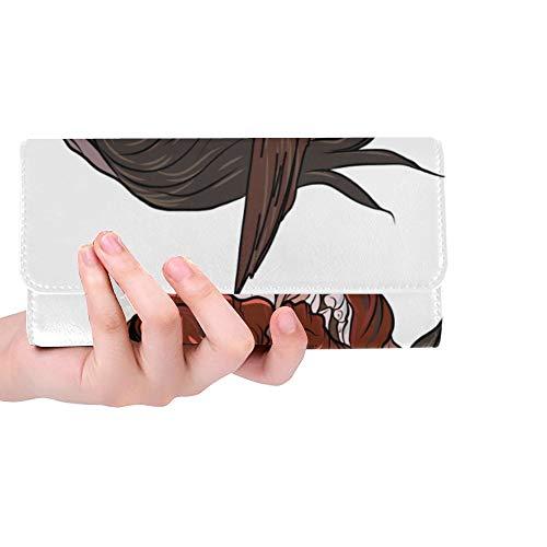 Unique Custom Japanese Demon Mask Japanese Women Trifold Wallet Long Purse Credit Card Holder Case Handbag]()