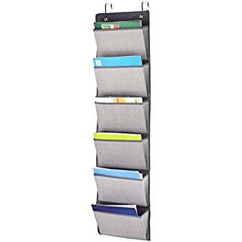 homyfort over the door hanging pocket organizer wall file holder mount fabric collapsible magazine folder shelf storage pocket chart6 pockets grey