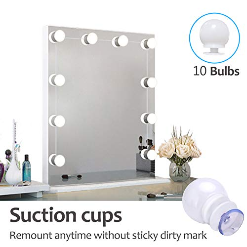 - Vanity Mirror Lights Kit Hollywood Style with Suction Cups LED Vanity Lights Makeup Mirror Lights with DimmableLight Bulbs, Lighting Fixture for Vanity Table Set in Dressing Room (Mirror Not Included)