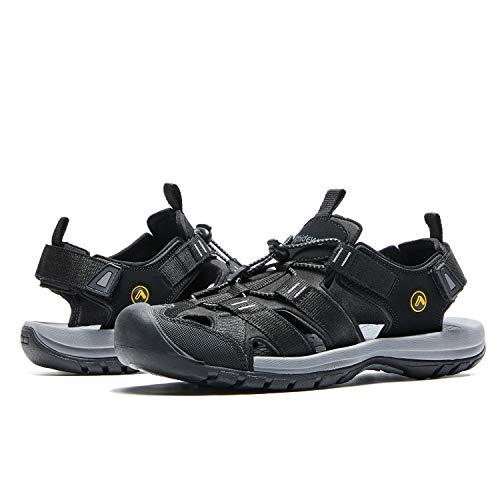 AMIDEWA Men's Hiking Sandals Closed Toe Adjustable Outdoor Sport Water Shoes for Athletic Fisherman Beach Walking - Black - 10 (Closed Toe Fisherman Sandal)