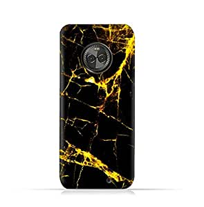 Motorola Moto X4 TPU Silicone Case With Dark And Gold Mesh Marble Pattern