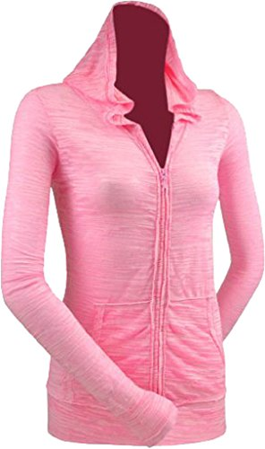 Kavio! Junior Camouflage Striped Burnout Raw Edge Long Sleeve Zip Hoodie Baby Pink/Bubblegum - Hoodie Juniors Zip
