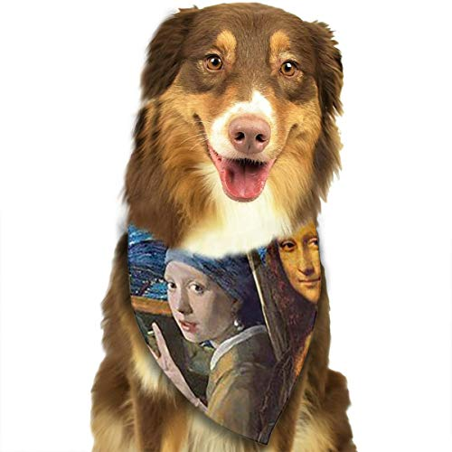 FRTSFLEE Dog Bandana Mona Lisa Self Timer Scarves Accessories Decoration for Pet Cats and Puppies ()