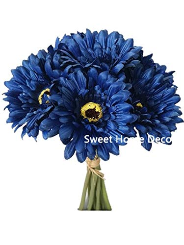 Sweet Home Deco 13'' Silk Artificial Gerbera Daisy Flower Bunch (W/ 7stems, 7 Flower Heads) Home/Wedding (Royal Blue)