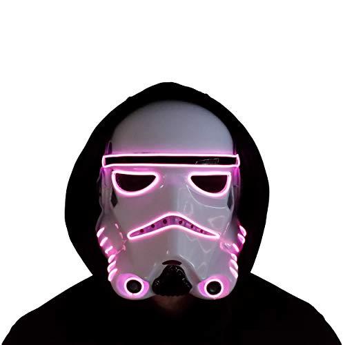 Trippy Lights Star Wars LED Light Up Storm Trooper Movie Half Helmet Halloween Mask (Pink)