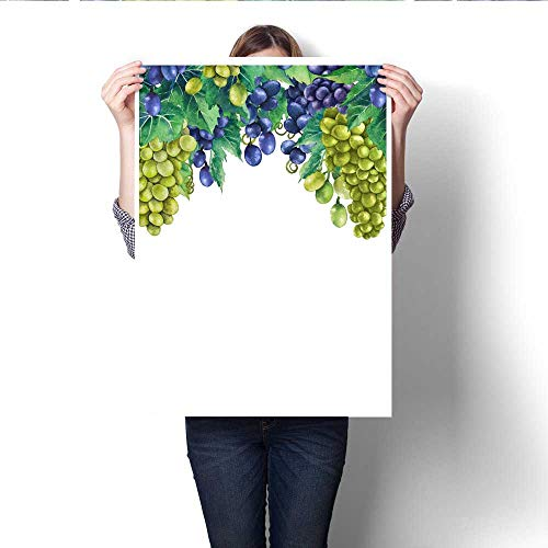 Canvas Wall Art Watercolor Bunches of White and Blue Grapes