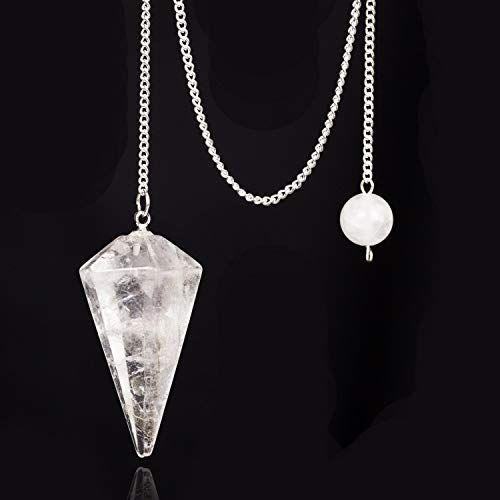 Rock quartz Clear Crystal Pendulum Stone Healing 12 Facet Reiki Charged Bead End Free Pouch (Clear crystal)