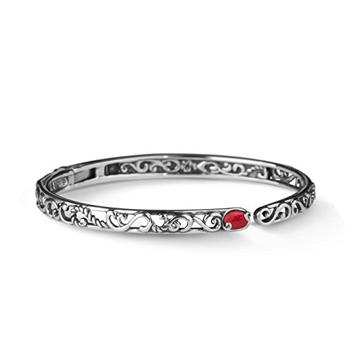 Carolyn Pollack Sterling Silver Red Coral Gemstone Hinged Cuff Bracelet Size Small ()
