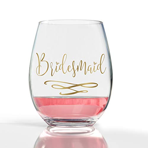 14K Gold Leaf Bridesmaid 19oz Stemless Wine Glass -