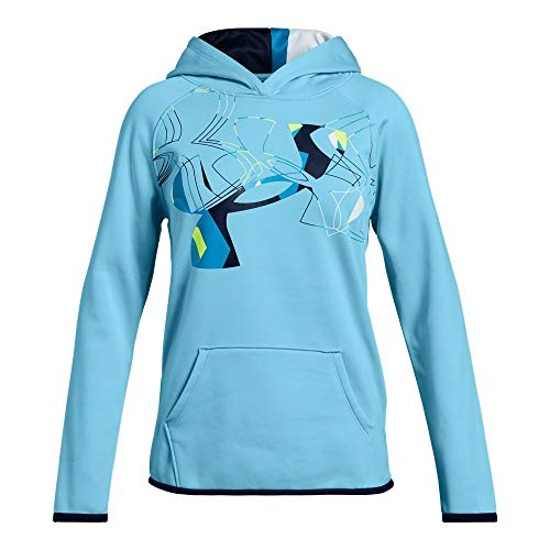 (Under Armour Girls Armour Fleece Print Fill Logo Hoodie , Venetian Blue (448)/Academy, Youth X-Small)