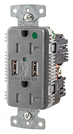 hubbell wiring device kellems 20a hospital grade usb charger rh amazon com