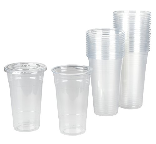 75 pack 20 oz Clear Plastic Cups with Lids for Cold Drinks, Iced Tea, Boba To-Go Cups, Disposable, Large Size