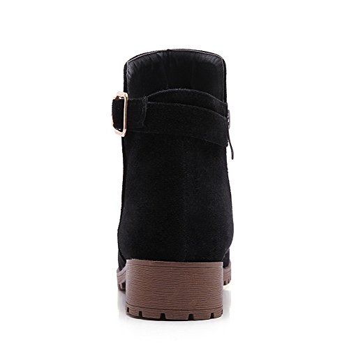 Womens Toe Closed Round Boots AllhqFashion Solid Heels Zipper Black Low Frosted RwxnfdqfSY