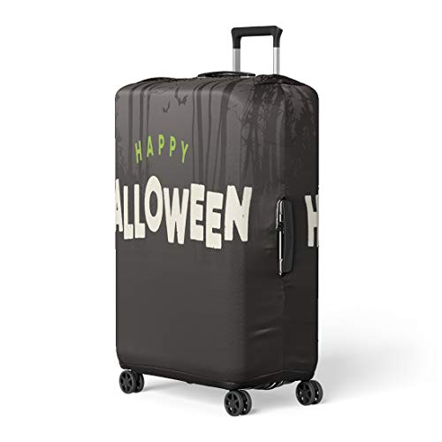 Pinbeam Luggage Cover Title Happy Halloween Text Night Forest Autumn Bat Travel Suitcase Cover Protector Baggage Case Fits 22-24 -