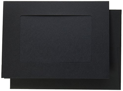 Strathmore 105-186 Photo Frame Cards, Black, Cutout Window, 10 Cards & Envelopes (Black Tri Fold Card)