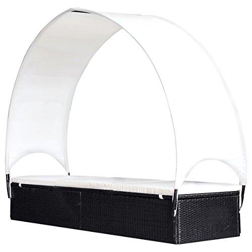 vidaXL Outdoor Sun Lounger Poly Rattan Wicker Black Garden Day Lounge Bed