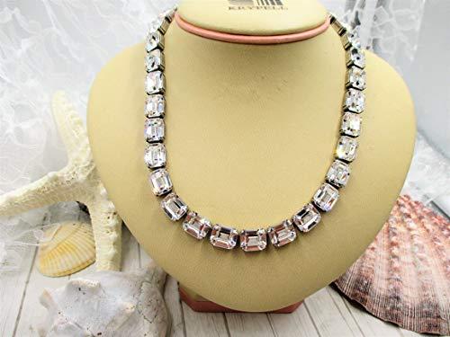 - Total Diva rectangular crystal necklace, Swarovski crystals, Statement making necklace!