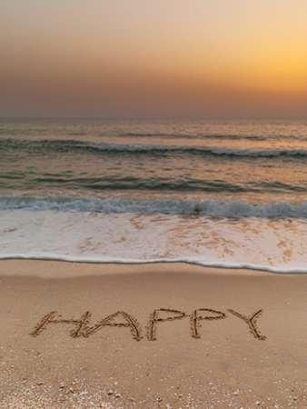Sand writing - Word Happy written on beach - Fine Art Print on Fine ...