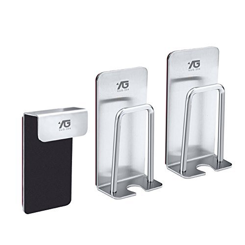 Zerone Wall Mounted Toothbrush Holder Toothpaste Holder Stand and Gargle Cup Holder with Self Adhesive - Brushed Stainless Steel (3 Pack)