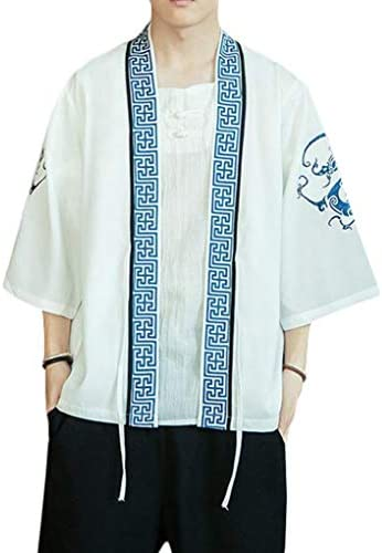 [BSCOOL]カーディガン メンズ 和式パーカー 七分袖 ゆったり 開襟シャツ 刺繍 和風 おしゃれ 羽織 カジュアル 着物 コーディガン 大きいサイズ 夏