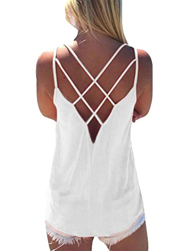 YOINS Women Top Sleeveless Criss Cross Back Hollow Pullover Casual Tank Cami Top White XXL