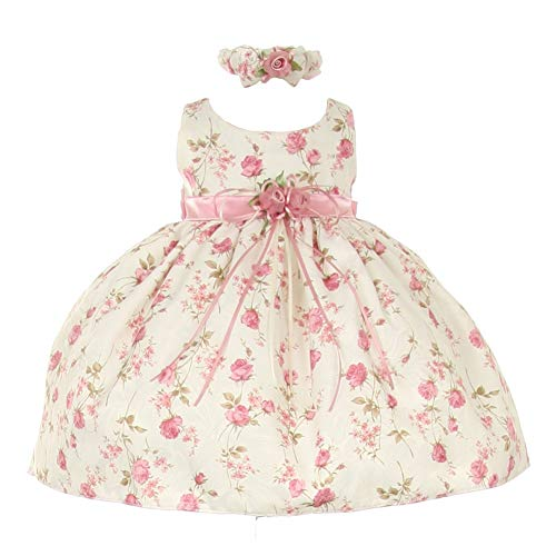 Beautiful Special Occasion Dress - Cinderella Couture Baby Girls Pink Rose Printed Jacquard Occasion Dress 12M