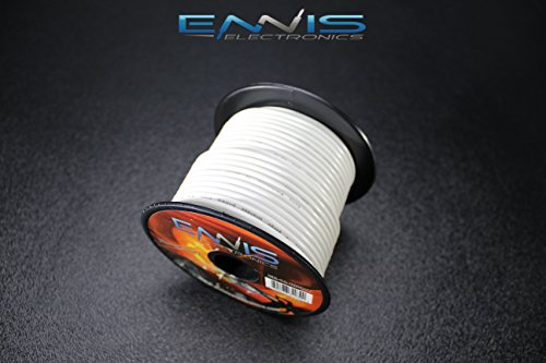 14 GAUGE WIRE WHITE BY ENNIS ELECTRONICS 100 FT SPOOL PRIMARY AUTOMOTIVE AWG COPPER CLAD