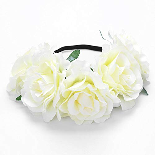 MOPOLIS Dazzling Womens Oversized Large Rose Flower Headband Floral Crown Wreath Charm   Color - Milk white