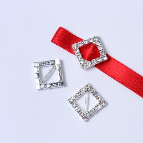 Janecrafts 50pcs 15mm Square-shaped Rhinestone Buckle Slider for Invitation Wedding - Letters Crystal Slide
